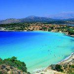 A6J6DT Istron bay general view of beach Lassithi Prefecture Crete Greece Loukas Hapsis IML Image Group