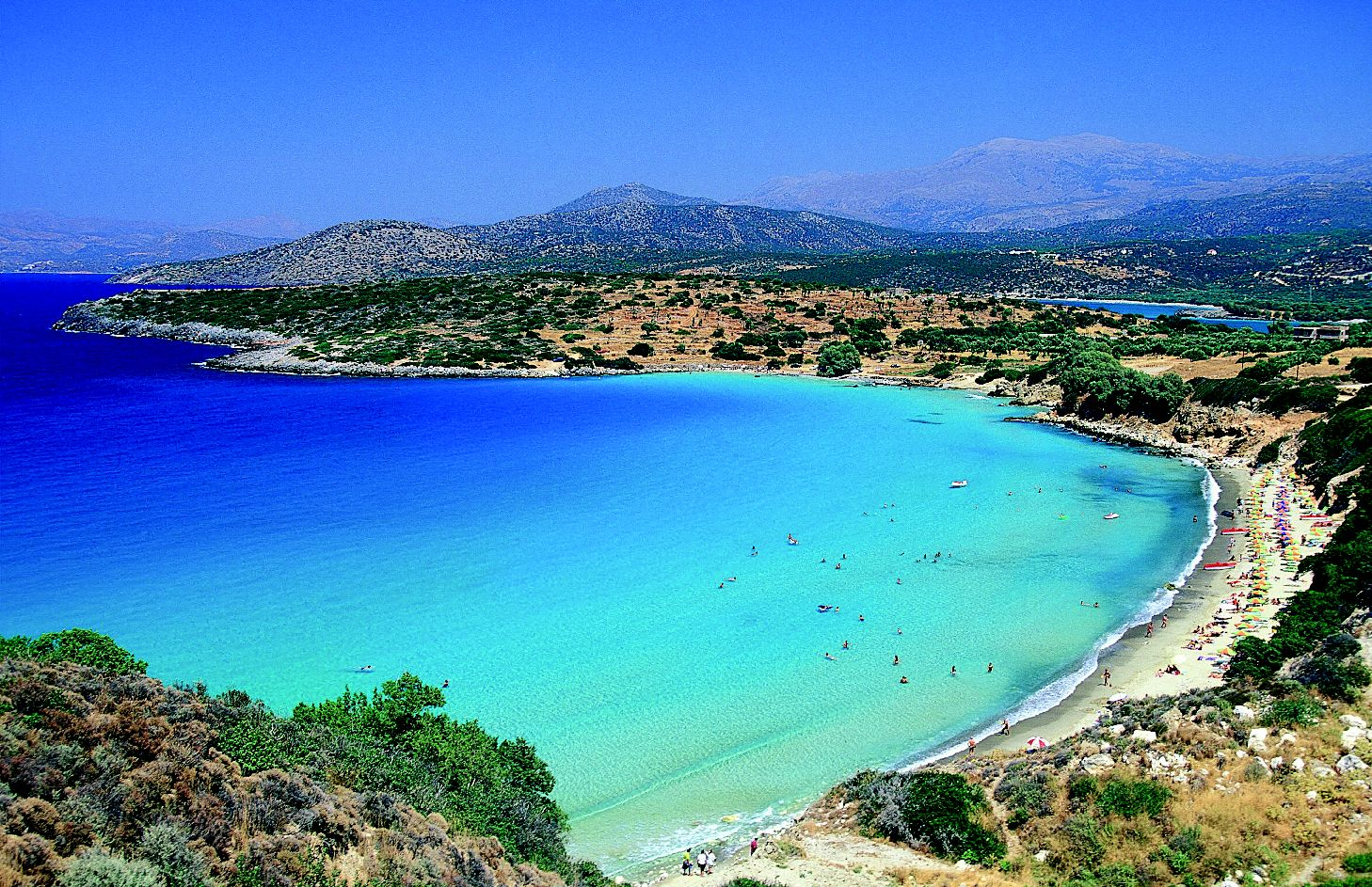 A6J6DT Istron bay general view of beach Lassithi Prefecture Crete Greece Loukas Hapsis IML Image Group